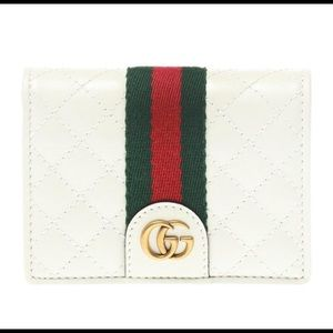 Gucci Web Quilted Card Case in White